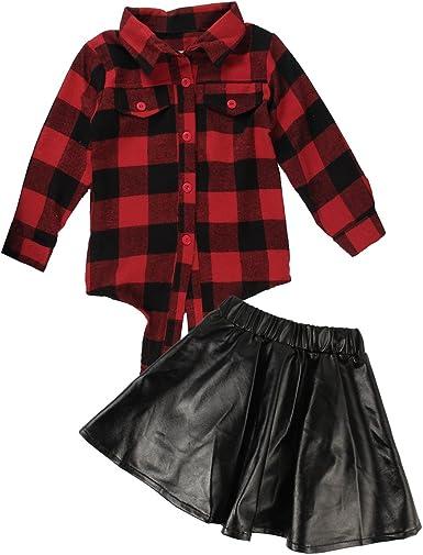 Borlai 2~7 Años Conjuntos Elegantes para Niñas Conjunto Elegante Camisa a Cuadros Roja + Falda de PU 2Pcs / Set: Amazon.es: Ropa y accesorios