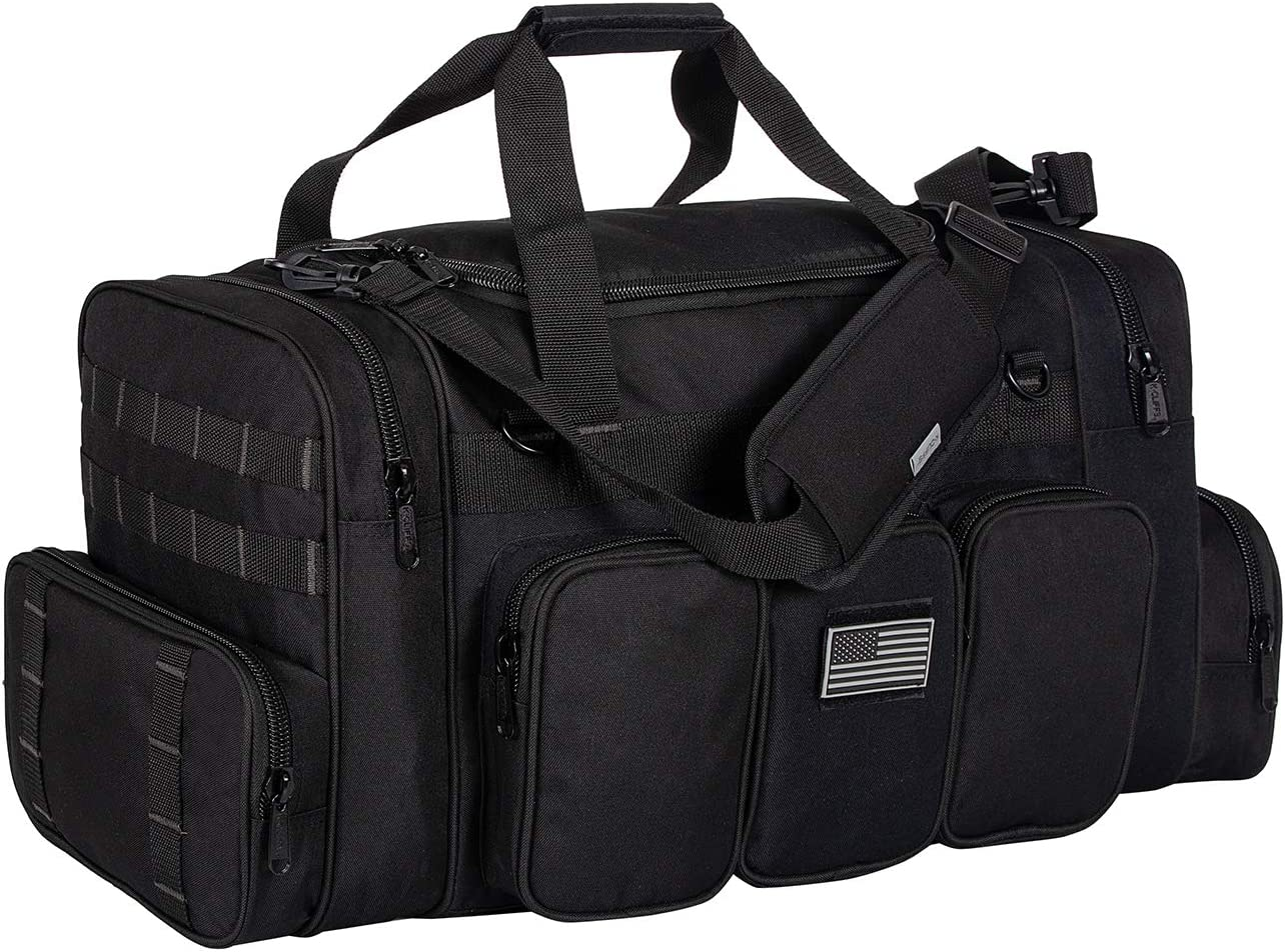 K-Cliffs Heavy Duty Gun Range Tactical Duffel Bag with US Flag Patch