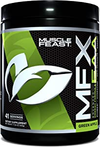 MUSCLE FEAST MFX EAA, Essential Amino Energy with Electrolytes, Super Hydrating Formula, 41 Servings, 500 Gram Container (Green Apple)