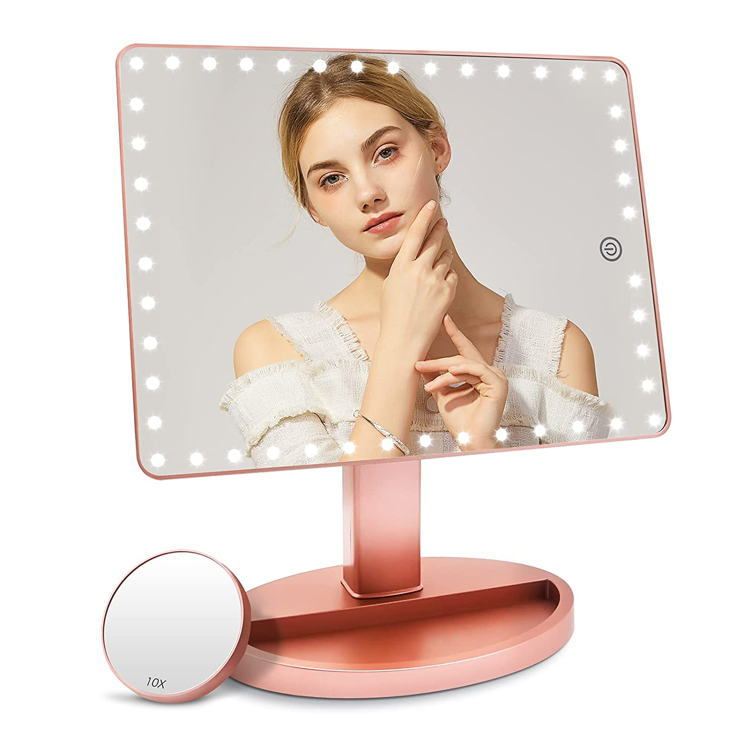 Rechargeable Large Lighted Vanity Makeup Mirror with 45 LED Lights (X-Large Model), Light Up Mirror, Touch Screen and 10X Magnification, 360° Rotation Portable Tabletop Cosmetic Mirror(Rose Gold)