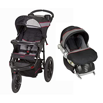 Baby Trend Lightweight Single Jogger Stroller With Flex LOC Infant Car Seat And Base