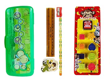 324fa24fe Buy Majik Combo of Pencil Box Set and Eraser for Kids, School ...