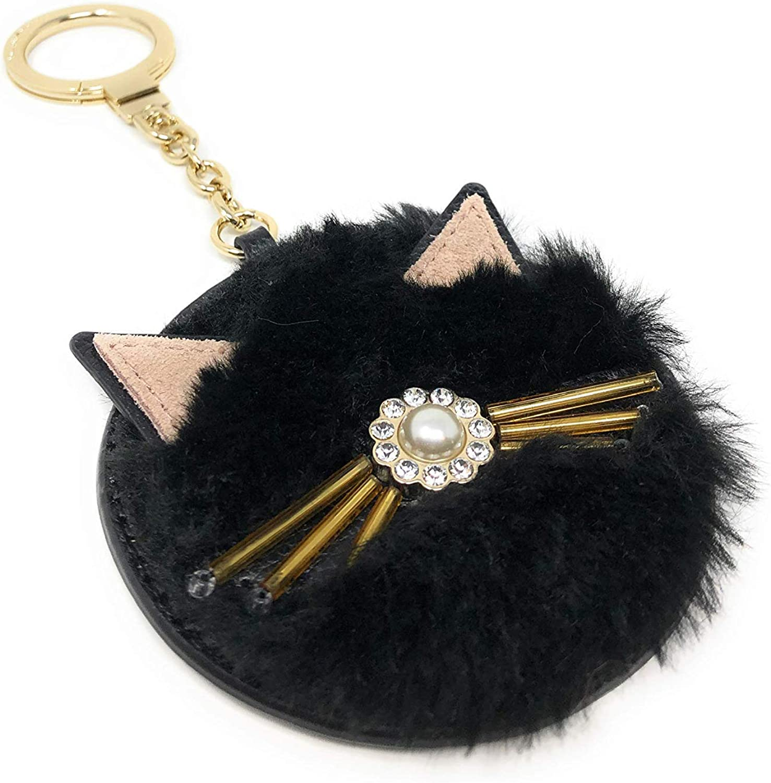 Kate Spade Black Cat Round Furry Keychain