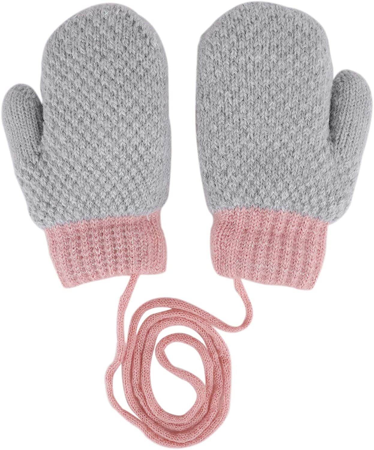 3D Cute Cartoon Bunny Gloves Boys Girls Warm Knitted Mittens Plush Lined Thick Thermal Full-finger Mittens with Anti-lost Neck Hang String Outdoor Hand Wear for Kids Ages 0 to 3