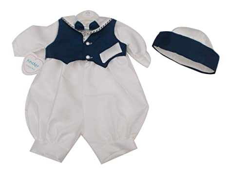 BNWT fabricado en Inglaterra Kinder marinero Baby Boy bautizo ocasión especial Pelele 0 – 6 meses