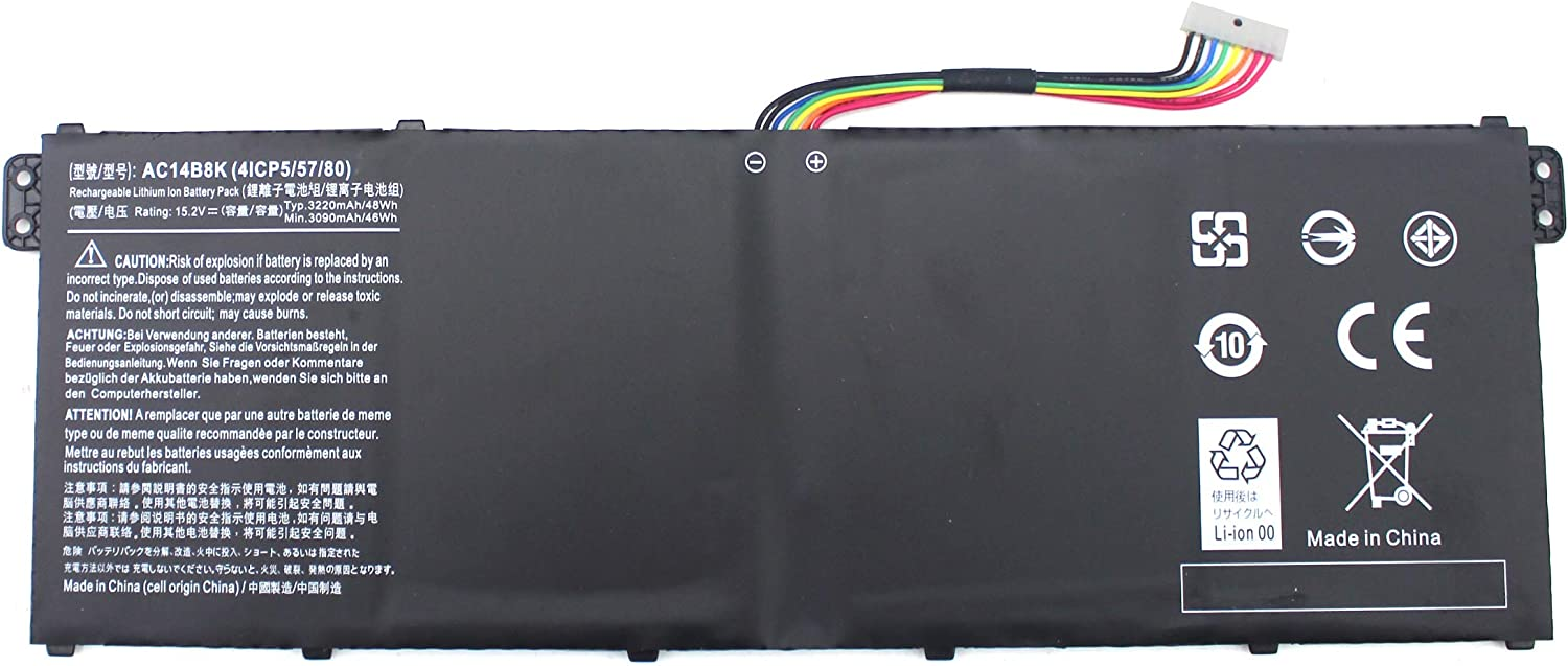 AC14B8K 4ICP5/57/80 Laptop Battery for Acer Aspire R5-471T R5-571T R5-571TG R5-571TG-7229 R7-371T N15W5 CB5-571 CB3-531 Swift 3 SF314-51 SF314-52 Nitro 5 AN515-51 AN515-52 AN515-53 Aspire 5 A515-51 PC