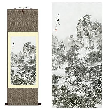 Amazon com: sunmir TM Silk scroll painting Chinese landscape