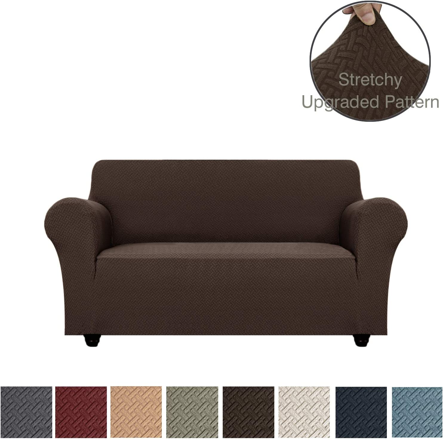 Obytex Stretch Loveseat Cover Polyester and Spandex Upgrade Pattern Couch Covers Dog Cat Pet Slipcovers Furniture Protectors,Machine Washable (Loveseat, Brown)