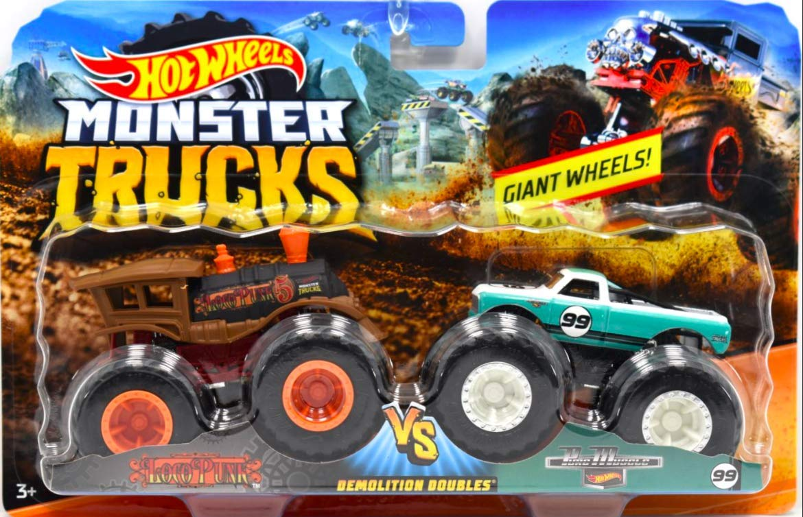 Hot Wheels Monster Jam Demolition Dobles Camiones con ruedas gigantes 1:64 Die Cast Vehicles Loco Punk (Train) Vs Pure Muscle