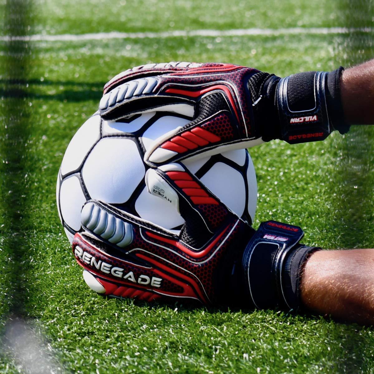 Renegade GK Vulcan Goalie Gloves Pro-Tek Fingersaves Excellent All-Around Goalkeeper Glove for Higher Level Play Sizes 6-11, 3 Cuts, Lvl 3 German Hyper Grip Palms 30 Day Guar.
