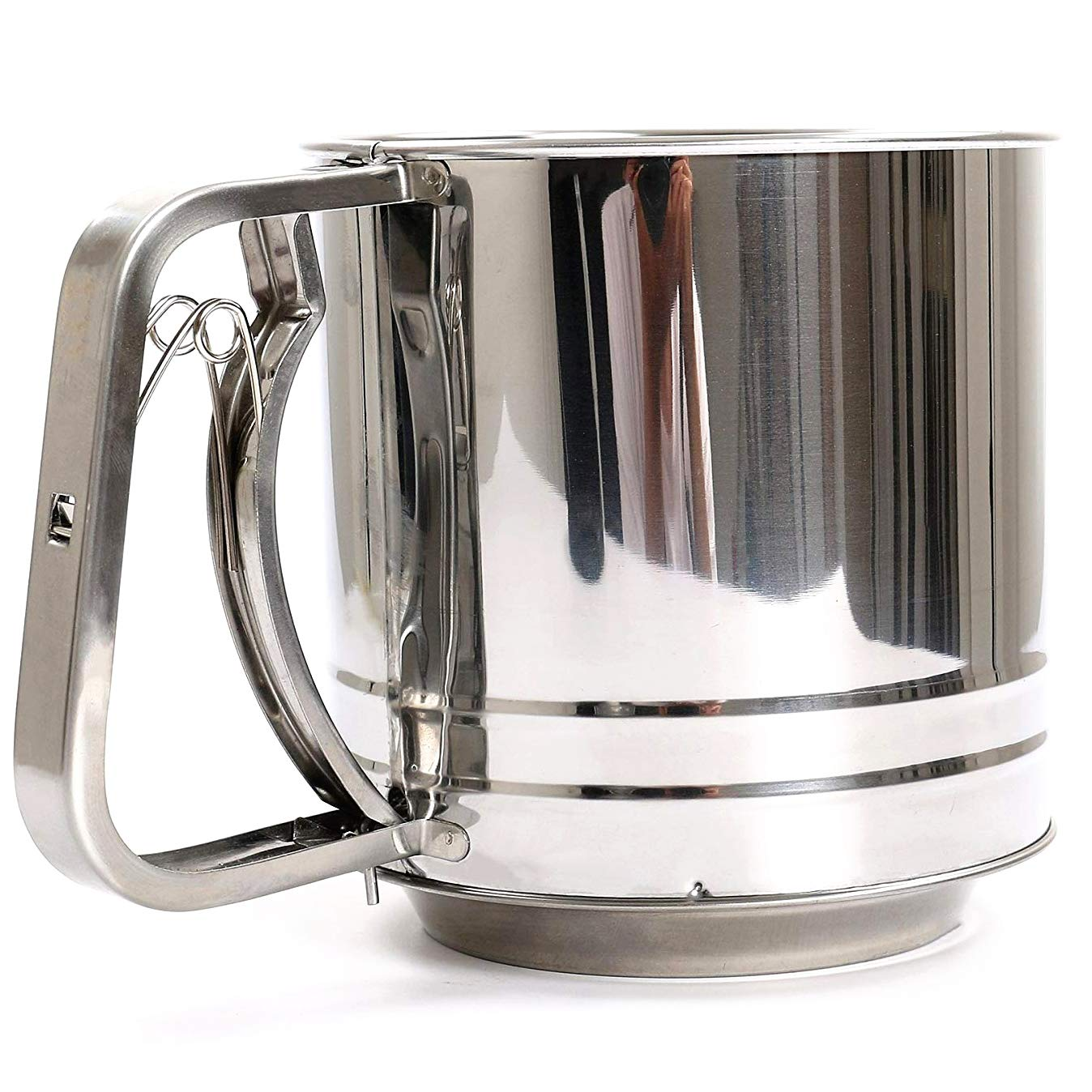 NPYPQ Flour Sifter, Stainless Steel Flour Sieve Sifters Mesh Cup - One Hand Crank - Very Fine - Large