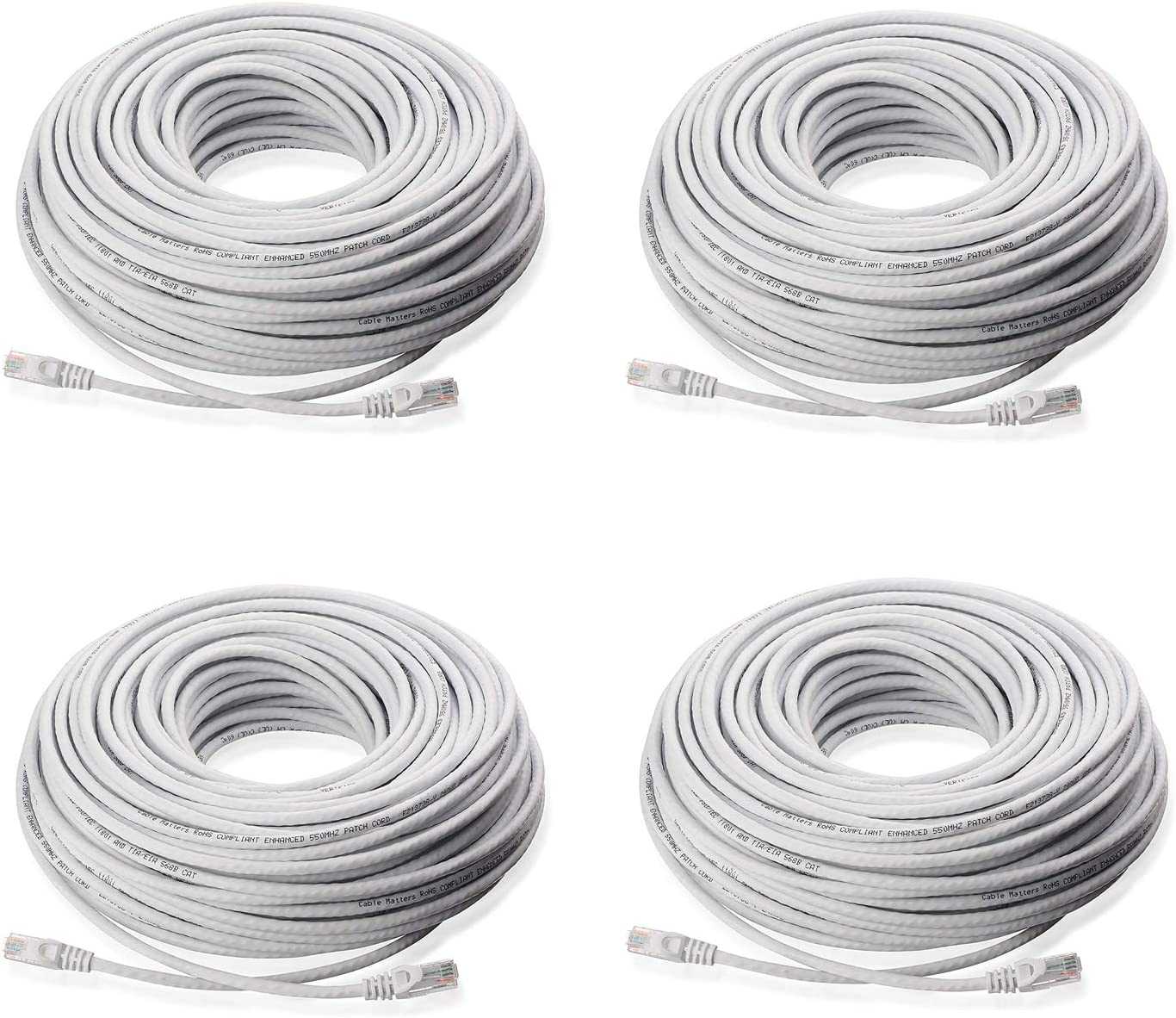 RJ45 Computer Network Internet Wire PoE Switch Cord Lknewtrend 4 100FT Feet CAT5 Cat5e Ethernet Patch Cable 4 Pack, 100 FT