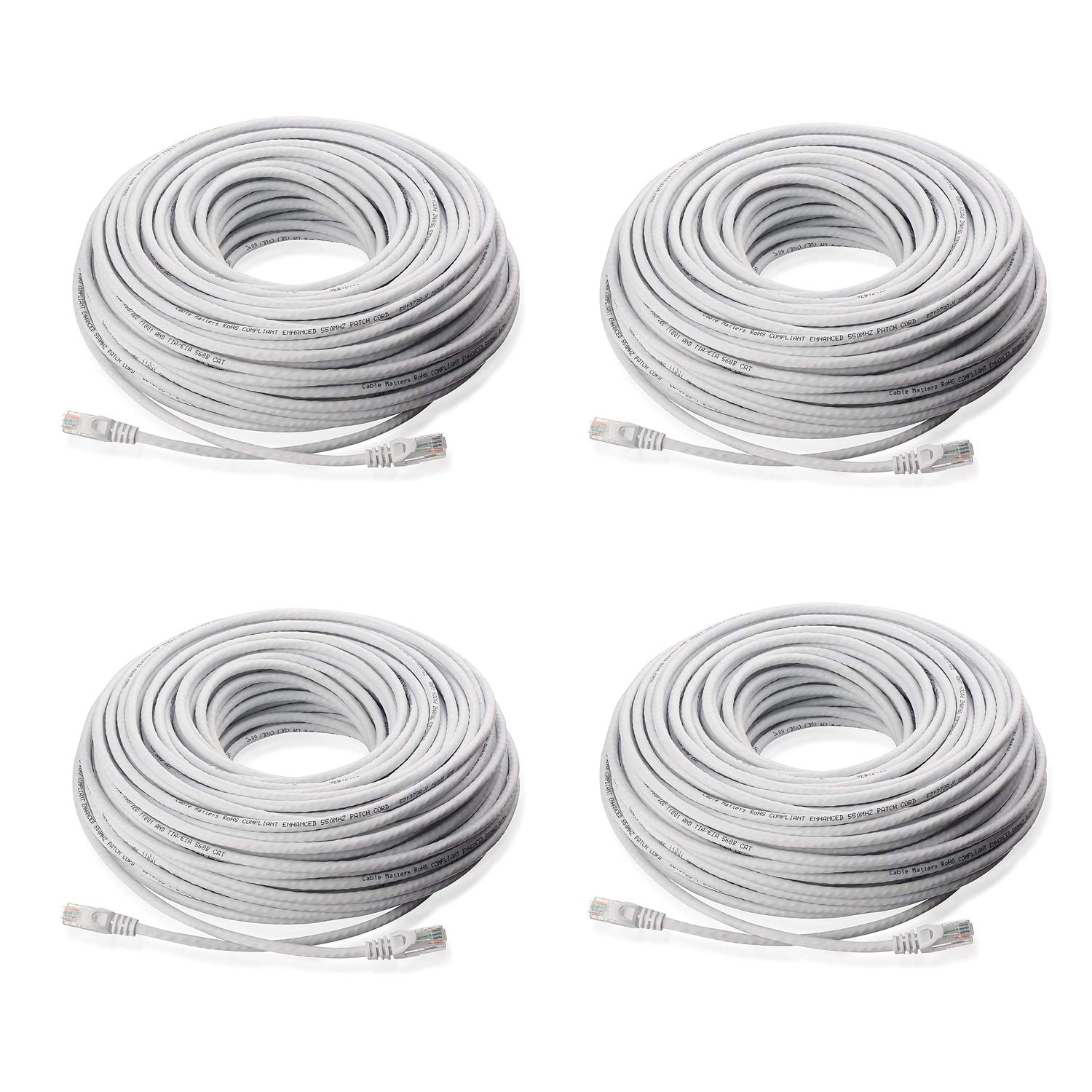 Lknewtrend (4) 100FT Feet CAT5 Cat5e Ethernet Patch Cable - RJ45 Computer Network Internet Wire PoE Switch Cord (4 Pack, 100 FT) by GLKNT