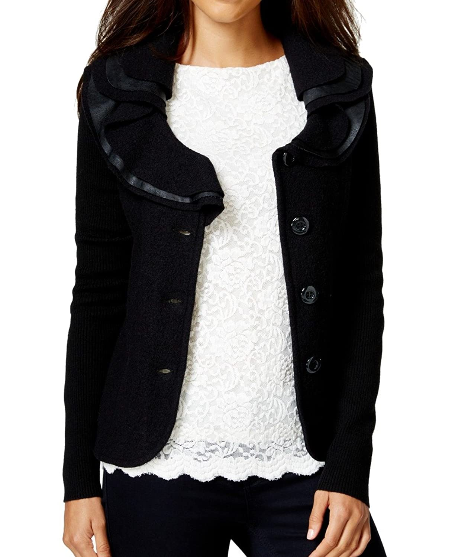 Charter Club Womens Ruffle-Detail Wool Sweatercoat