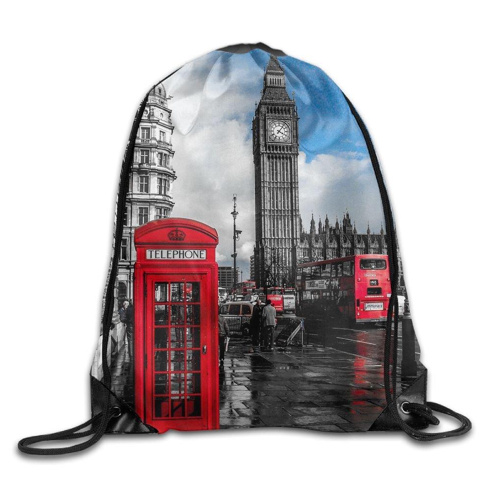 Janeither Unisex Drawstring Bags London City Big Ben Clock Portable Backpack Travel Sport Gym Bag Yoga Runner Daypack Shoe Bags