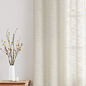 "Natural Linen Textured Semi-Sheer Curtains for Living Room Office 72"" Long Not See Through Privacy Window Curtain Set for Bedroom 52""w x 2 Panels Grommet Top"