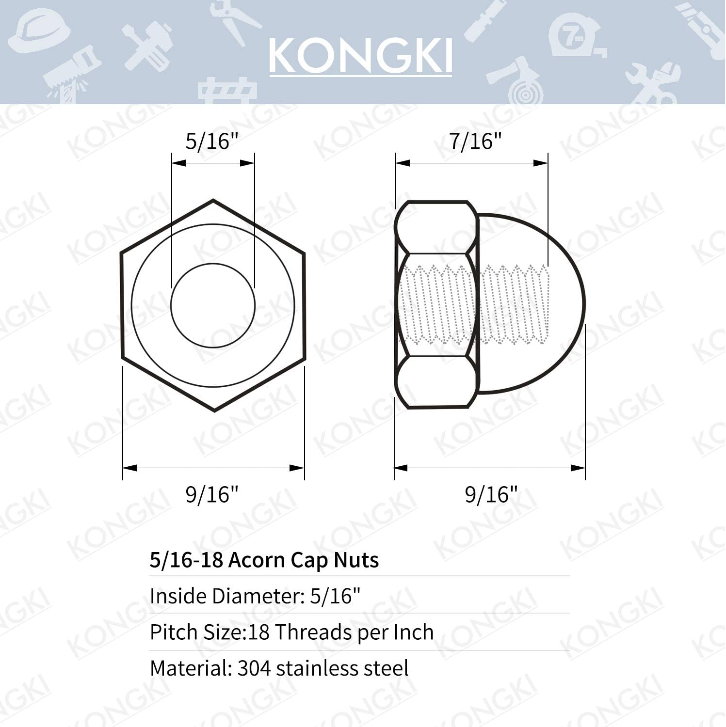 8-32 Threads 304 Stainless Steel 18-8 20 PCS Bright Finish Stainless Steel Acorn Hex Cap Nuts