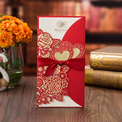 Amazon smartcoco laser cut hollow rose love heart wedding smartcoco laser cut hollow rose love heart wedding invitations card customize greeting cards with ribbon wedding m4hsunfo