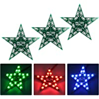 WHDTS 3-Set Five-Pointed Star Breathing Light DIY Kit with PCB DC 4-6V Red Green Blue Gradient LED Light for Christmas…