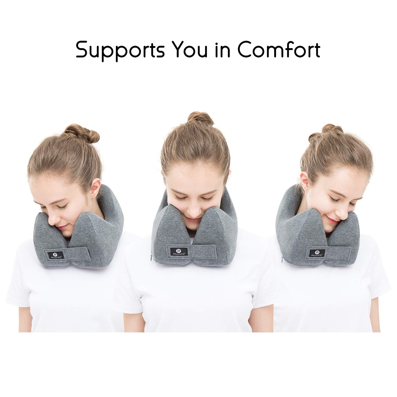 A Patented Neck Pillow with Neck PALMATE Travel Pillow Head and Chin Support Cooling Airplane Pillow Gray