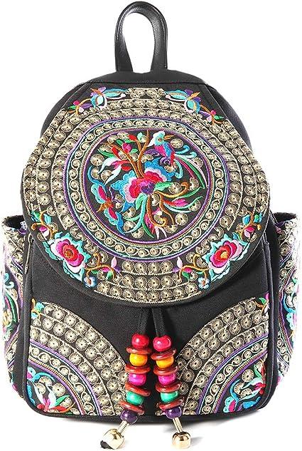 Amazon.com: Mochila vintage bordada para mujer adolescente ...