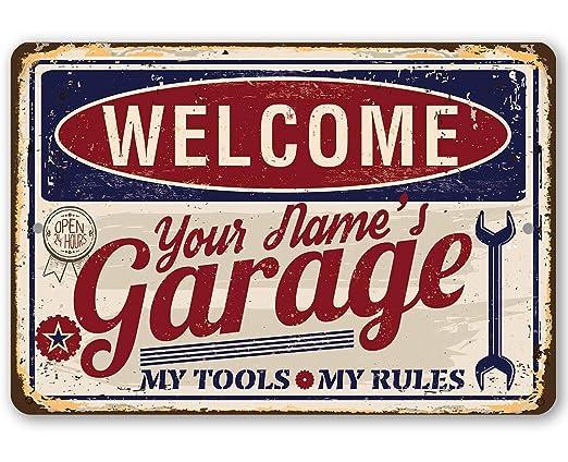 YSHDNDML Cartel de Metal para Garaje Personalizado, Duradero, Uso en Interiores y Exteriores, Ideal para decoración de Garaje y un Gran Regalo para ...