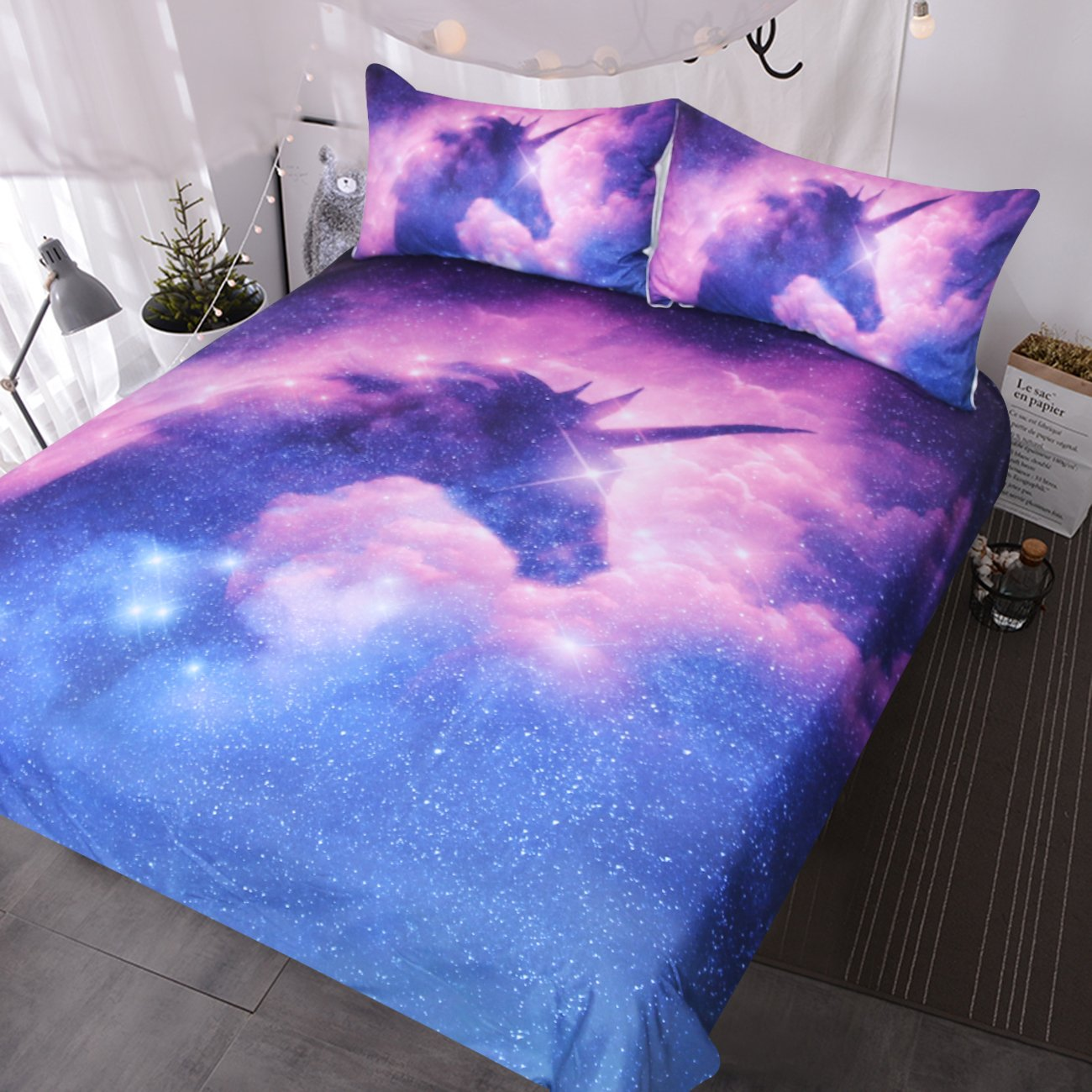 BlessLiving Galaxy Unicorn Bedding Kids Girls Psychedelic Space Duvet Cover 3 Piece Pink Purple Sparkly Unicorn Bedspread (Queen)