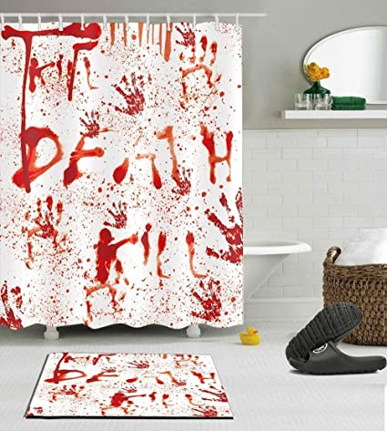 Halloween Decorative Bloody Decor Shower Curtain Polyester Fabric 3D Digital Printing 60x72 Mildew Resistant Waterproof Death