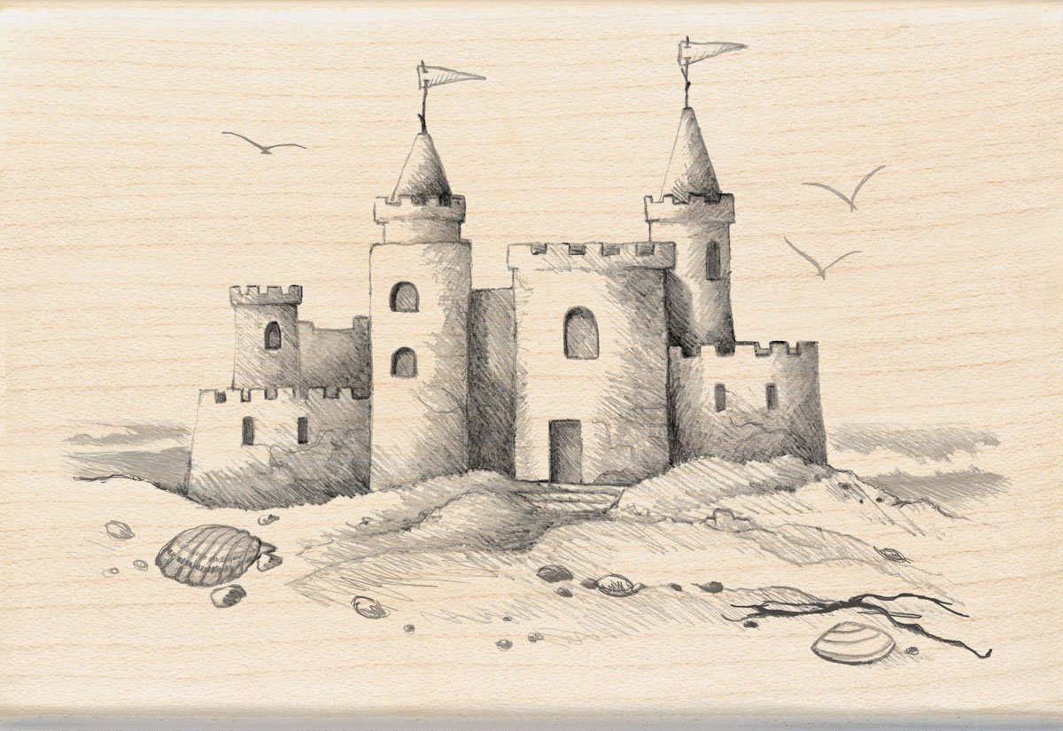 Inkadinkado Sand Castle Wood Stamp EKS 60-00558