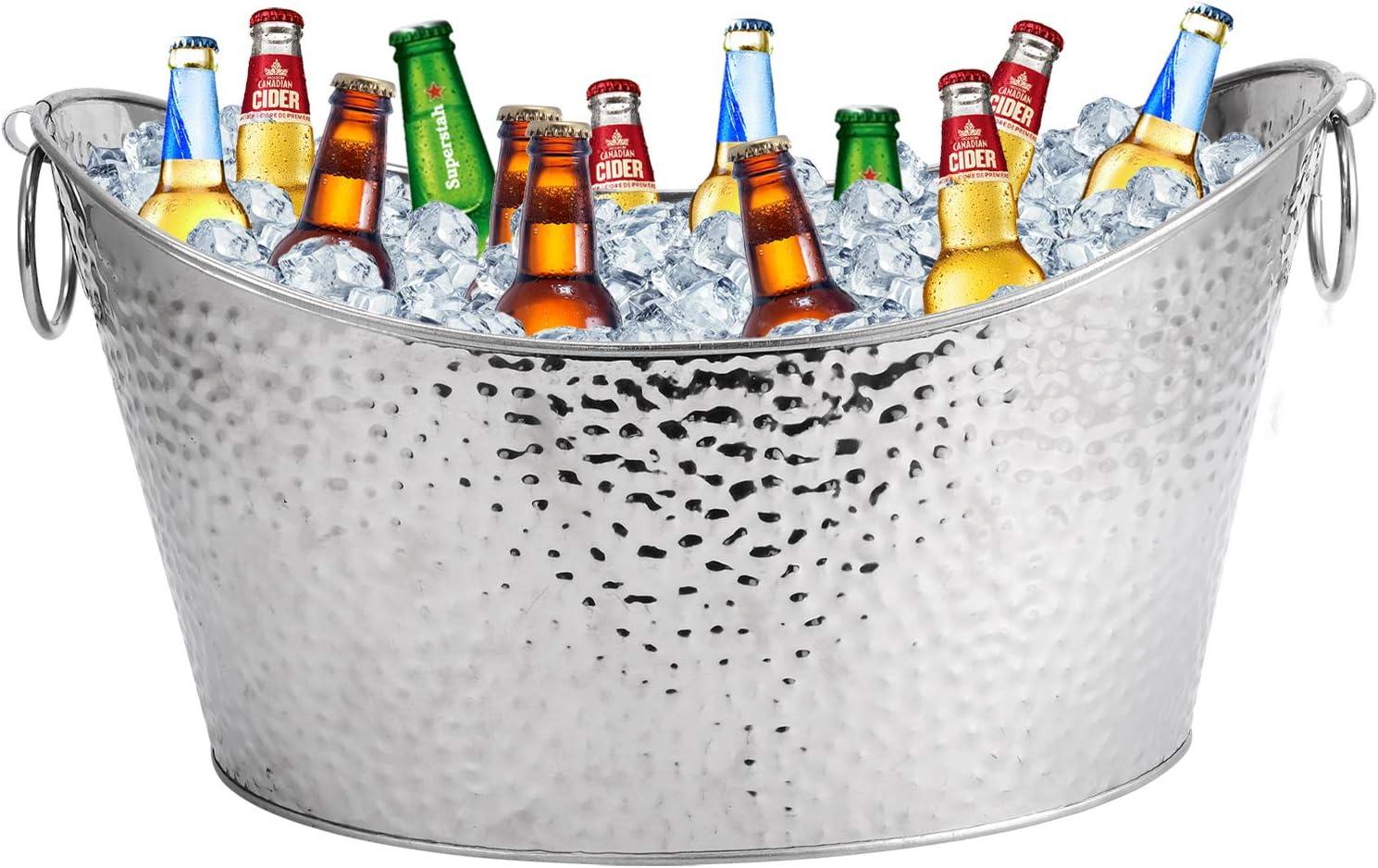 Stainless Steel Beverage Tubs Large Ice BucketDrink Buckets for Parties Weddings 12L