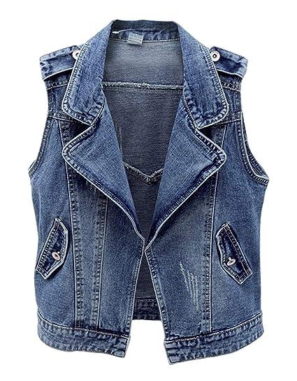 0f8d2db6d65eda Weste Damen Frühling Herbst Elegant Ärmellos Jeansweste Fashion Mode Marken  Schöne Luftig Casual Gemütlich Mantel Unifarben
