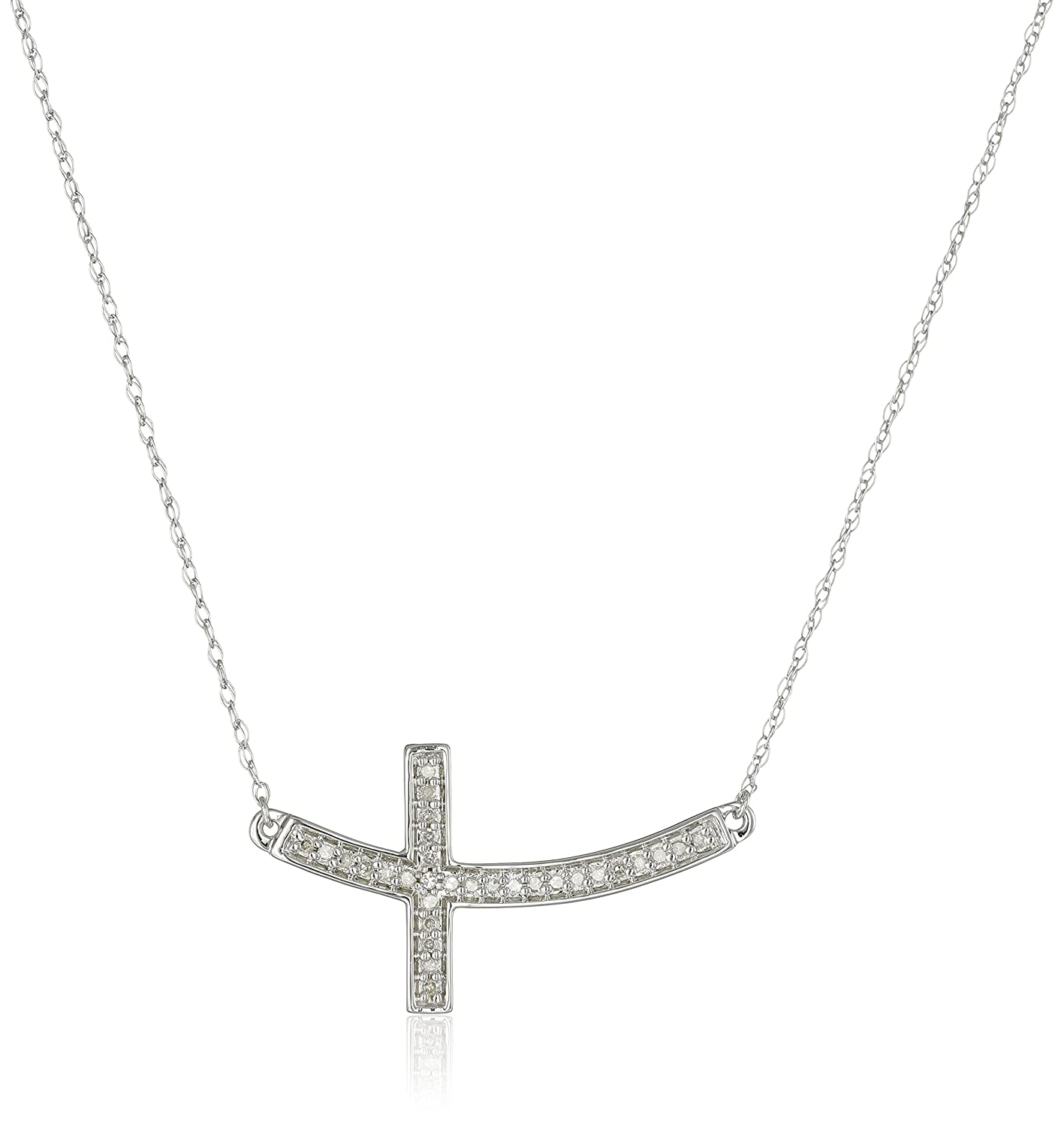10k White Gold Diamond Sideways Cross Pendant Necklace (1/10cttw, I-J Color, I2-I3 Clarity), 17""