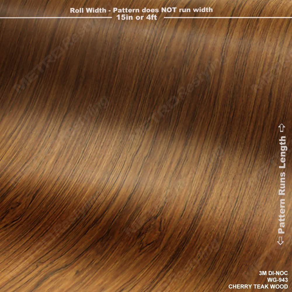 Vinyl Film Series 60 Sq//ft 3M DI-NOC WG-943 Cherry Teak Woodgrain 4ft x 15ft