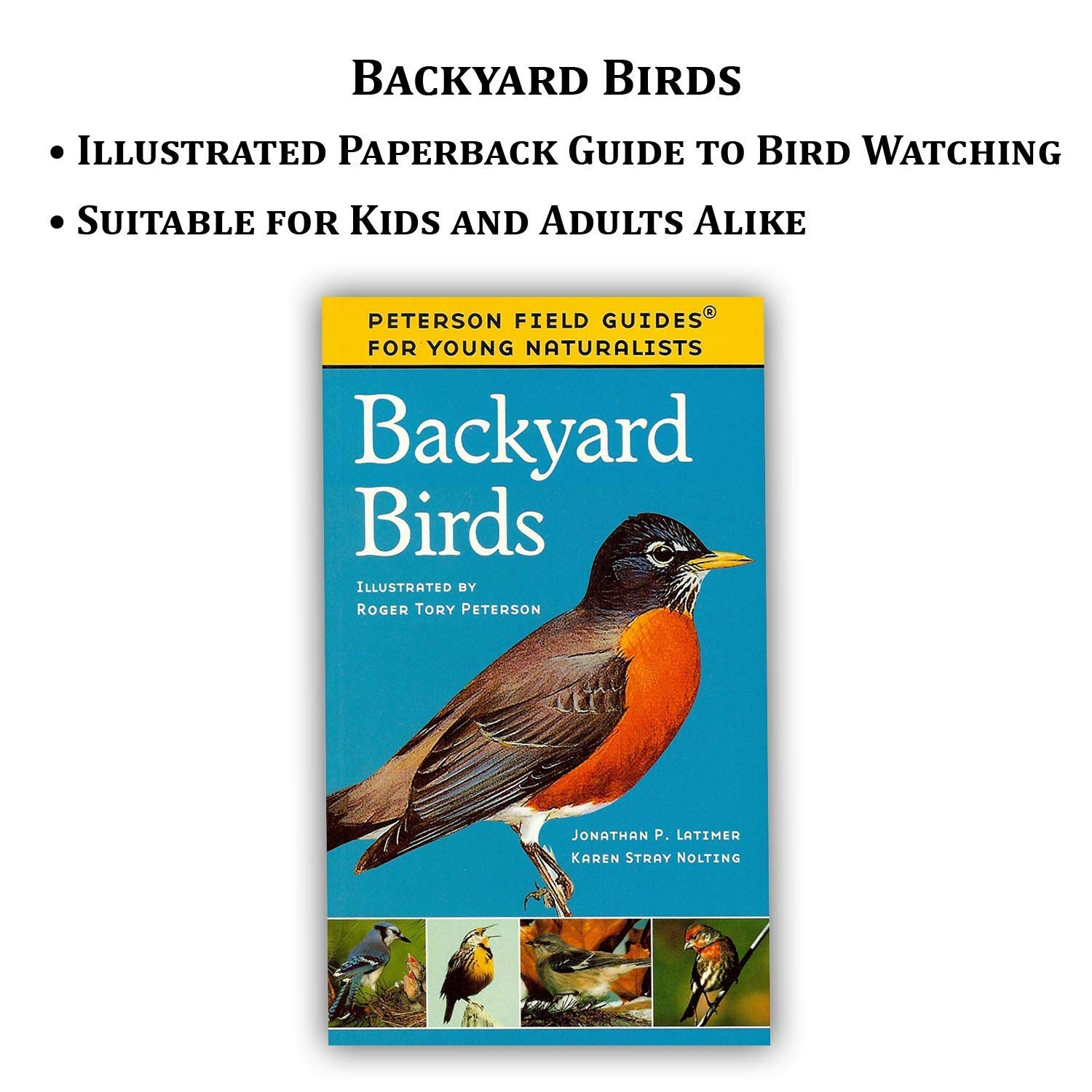 Strap + Backyard Birds Bestselling Guide Book Swabs Beginners Cloth 8x21 Compact Binoculars Travel Case Bird Watching Kit Adults Essential Outdoor Gift Set for Kids Lens Care Spray