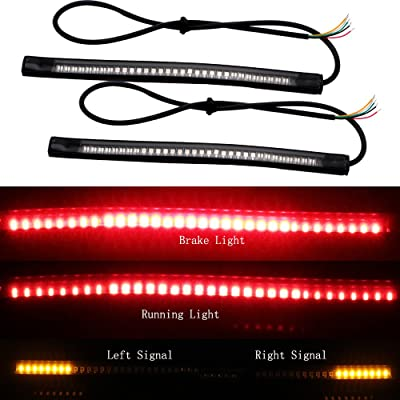 EverBrightt 2-Pack Red + Yellow 3528 + 3014 48SMD LED Motorcycle Light Strip for Taillight Brake Light Turn Signal Lamp DC 12V: Automotive