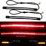 EverBrightt 2-Pack rouge+ jaune 3528 +3014 48SMD moto légère bande de LED pour les feux arrière feu stop clignotant lampe 12V DC