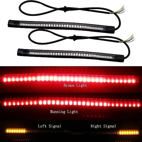 EverBrightt 3528 amarillo rojo 2-Pack 3014 48SMD LED tira luz motos para luz trasera luz de freno intermitente lámpara de 12V DC: Amazon.es: Coche y moto