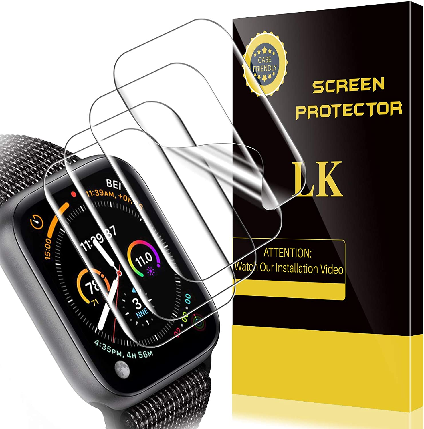 4 Pack LK Compatible With Apple Watch Series 6/SE/Series 5/Series 4 Screen Protector 40mm, Model No. LK1485, HD Clear Film Bubble Free