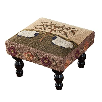 Park Designs Willow and Sheep Hooked Stool: Kitchen & Dining