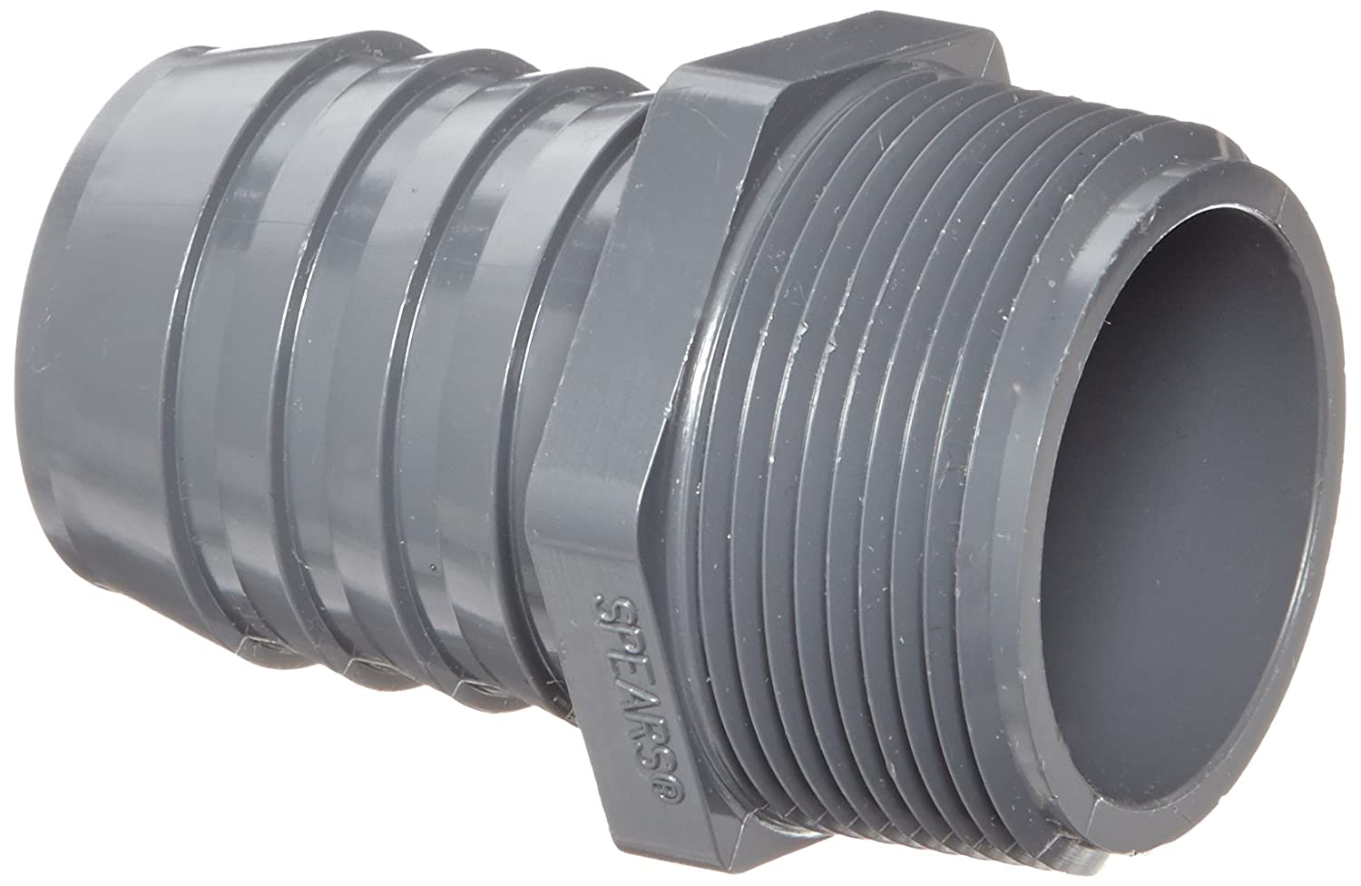 Spears 1436 Series PVC Tube Fitting, Adapter, Schedule 40, Gray, 1-1/2 Barbed x NPT Male Spears Manufacturing 1436-015