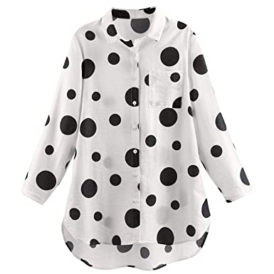 8048201dde2b Helens Heart Women's Polka Dot Big Shirt - Black and White Button Up Tunic  Top -