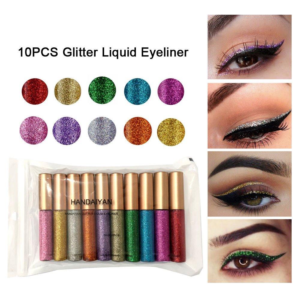 WSX Glitter & Schimmer Liquid Eyeliner Wasserdicht Gold Metallic Lidschatten Set 10 Stück/Set
