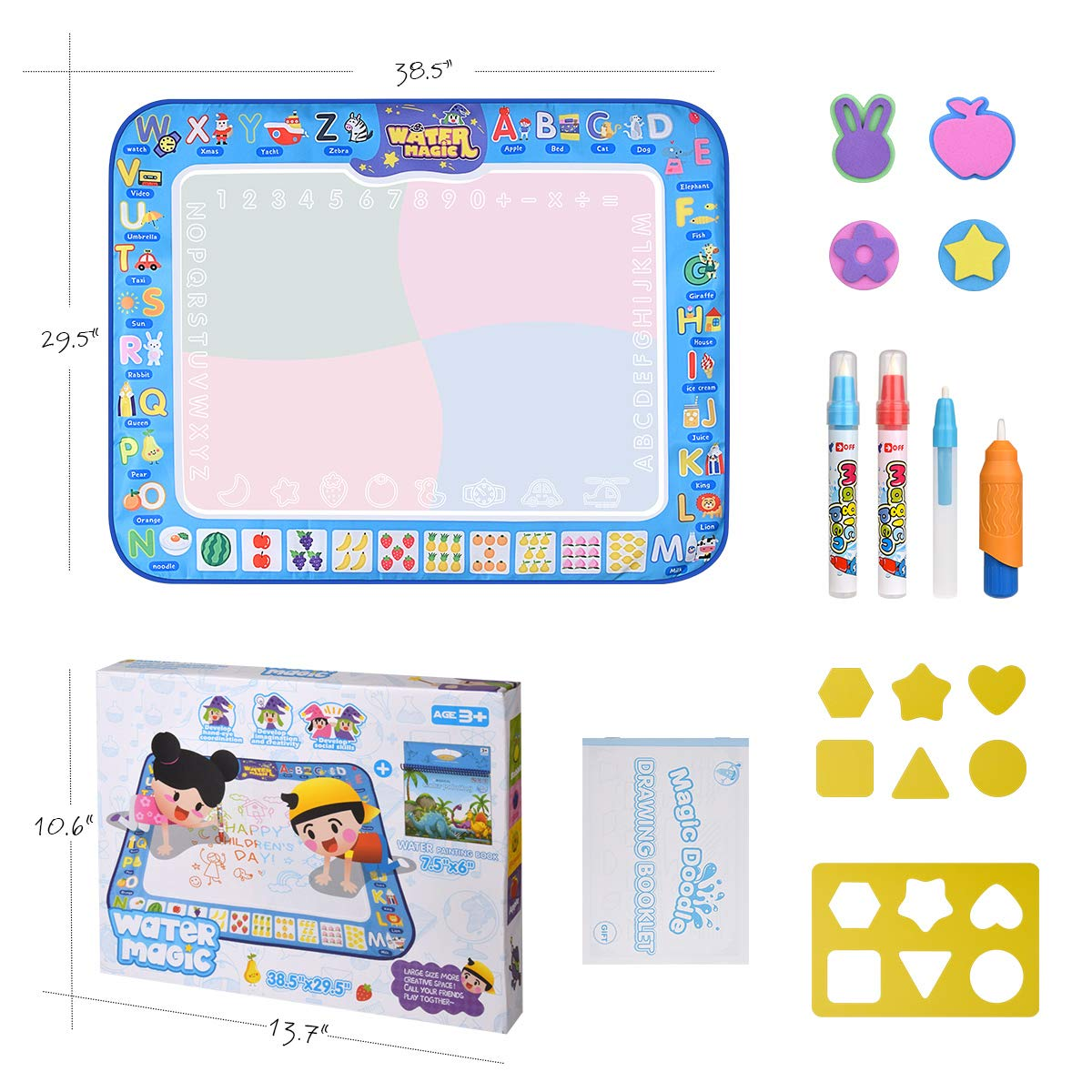 pipigo Water Doodle Mat Large Size for 2-3 Kids 31.5 X 23.6 Kid Aqua Magic Drawing Mat Coloring Paint Pad for Toddlers with 4 Water Pens and 6 Models