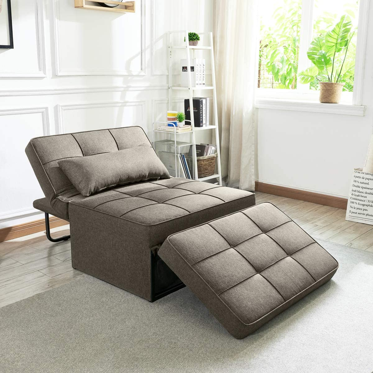 Vonanda Sofa Bed, Convertible Chair 4 in 1 Multi-Function Folding Ottoman Modern Breathable Linen Guest Bed with Adjustable Sleeper for Small Room Apartment,Light Brown