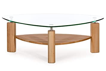 Alkove - Hayes - Table basse moderne en bois massif avec plateau en ...