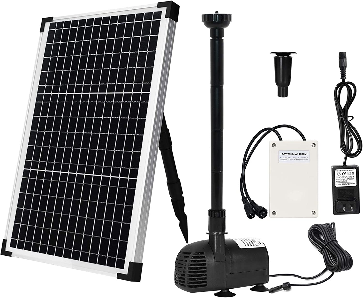 Solar Fountain Water Pump Kit 30 W, Lift 8.5 FT Submersible Powered Pump and 30 Watt Solar Panel for Sun Powered Fountain, Pond Aeration, Hydroponics, Garden Decoration, Aquaculture(Battery Backup)