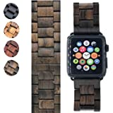 42mm Apple Watch Band Replacement - iWatch Series 1, 2 & 3 – Handcrafted Wood - NEW Adjustment Tool Included (Black Sandalwood)