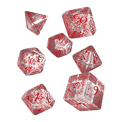 Q Workshop Elvish Dice Transparent/Red (7) Board Game, Multicolor: Toys & Games