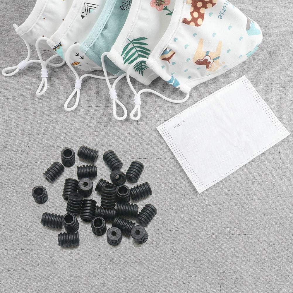 Cord Locks Silicone Toggles for Drawstrings Elastic Cord Adjuster Non Slip Stopper 【200pcs Black and White】 Dreamszi