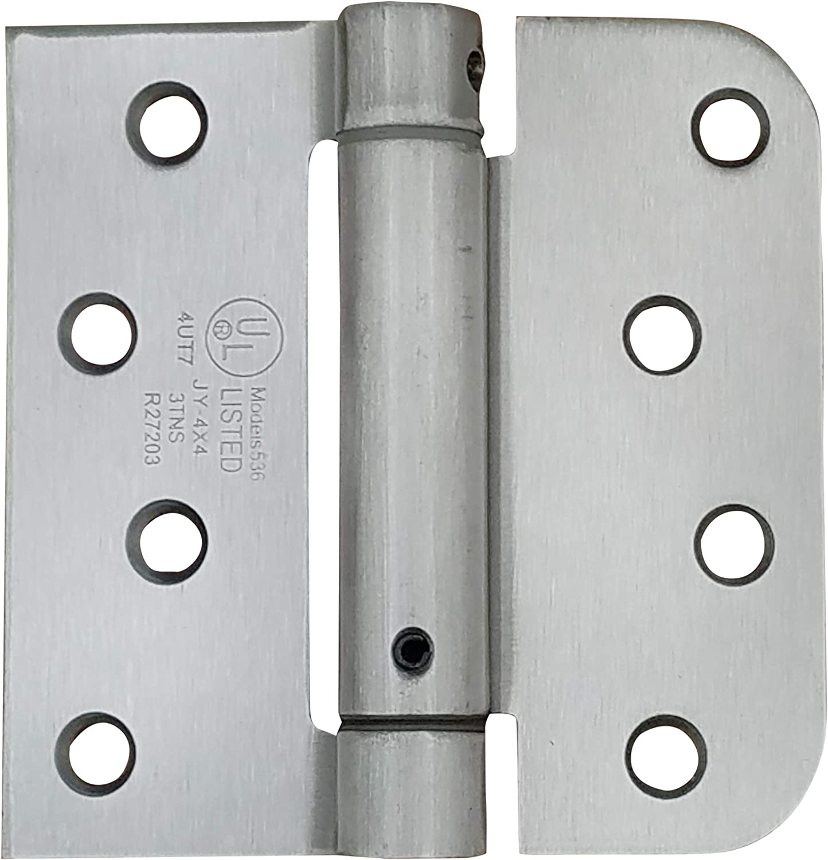 Satin Nickel KS Hardware Self Closing Spring Hinge 2 Pack 4 x 4 with 1 Square /& 1 5//8 Radius Corners